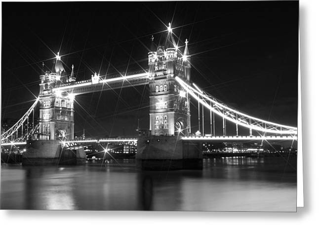 Night Lamp Digital Art Greeting Cards - Tower Bridge by Night - black and white Greeting Card by Melanie Viola