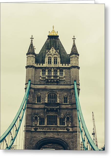 Famous Bridge Greeting Cards - Tower Bridge Closeup Greeting Card by Pati Photography
