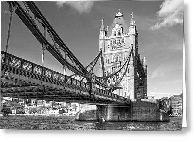 Famous Bridge Greeting Cards - Tower Bridge Horizontal Black and White Greeting Card by Gill Billington