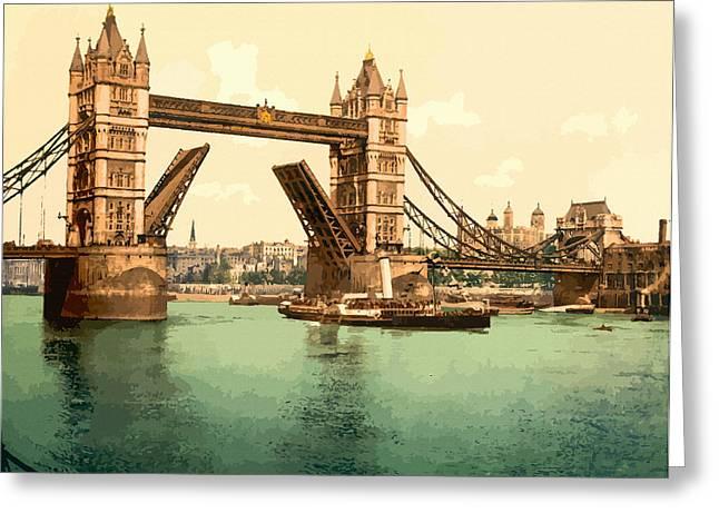 19th Century America Digital Art Greeting Cards - Tower Bridge II London - England Greeting Card by Don Kuing