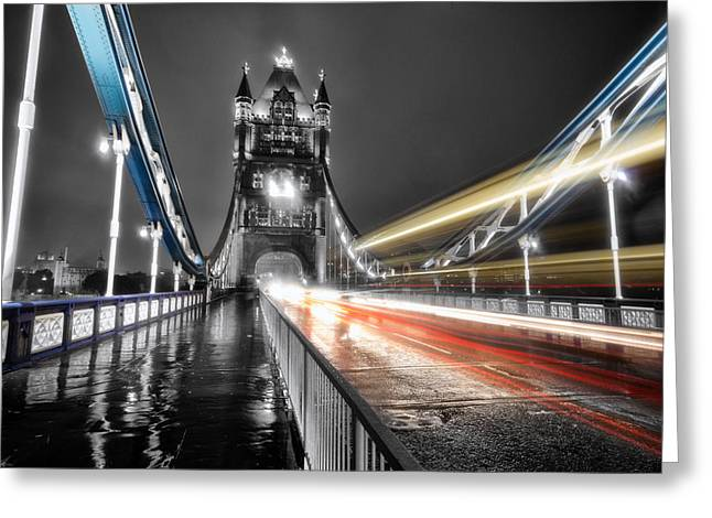 Tower Bridge Lights Greeting Card by Ian Hufton