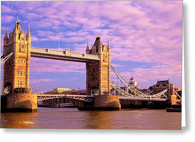 Victorian Greeting Cards - Tower Bridge London England Greeting Card by Panoramic Images