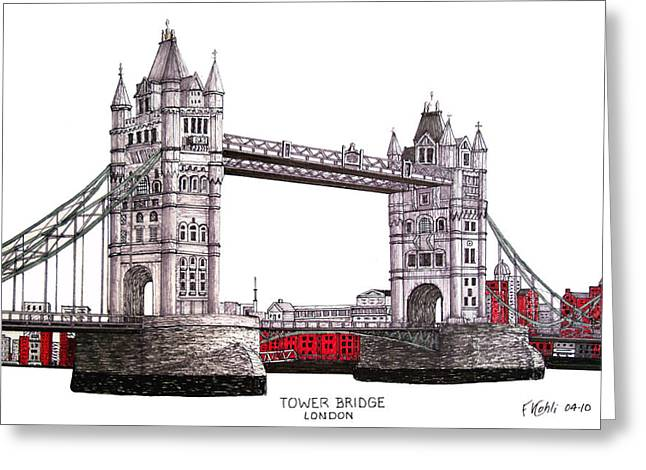 Historic Buildings Images Drawings Greeting Cards - Tower Bridge - London Greeting Card by Frederic Kohli