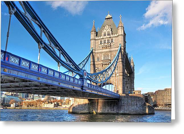 Famous Bridge Greeting Cards - Tower Bridge London Greeting Card by Gill Billington