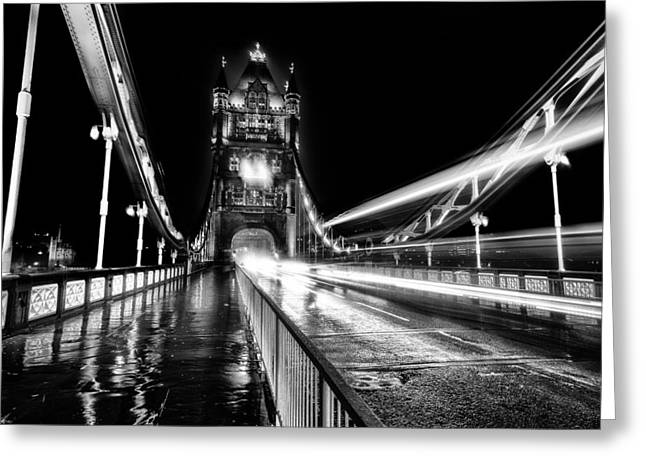 Tower Of Light Greeting Cards - Tower Bridge London in Mono Greeting Card by Ian Hufton