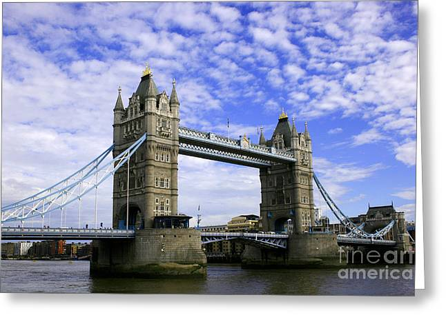 Old Roadway Greeting Cards - Tower Bridge London Greeting Card by John Wallace