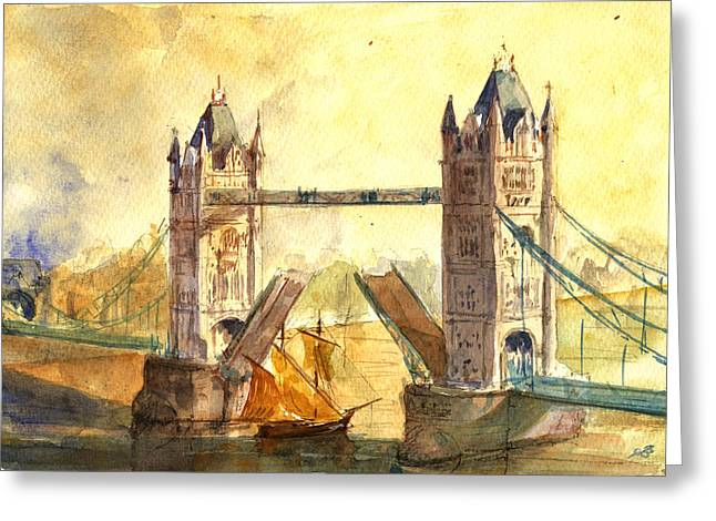Acuarelas Greeting Cards - Tower Bridge London Greeting Card by Juan  Bosco