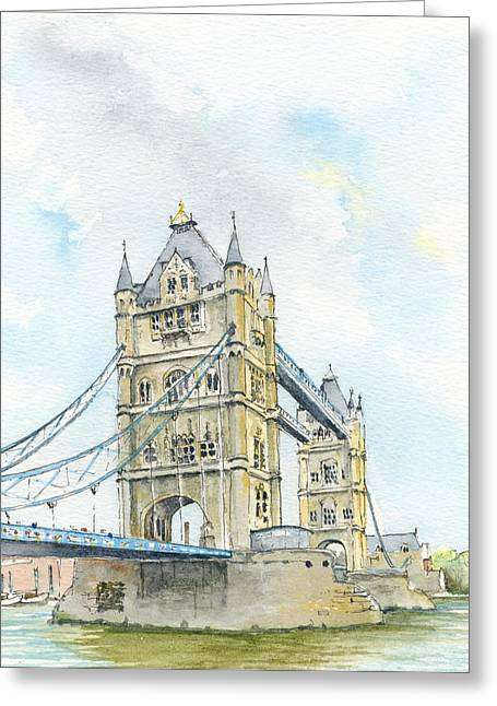 Famous Bridge Drawings Greeting Cards - Tower Bridge London Greeting Card by Martin Baker