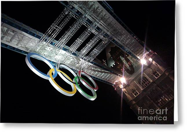 Ted Williams Greeting Cards - Tower Bridge London Olympics Night Greeting Card by Ted Williams