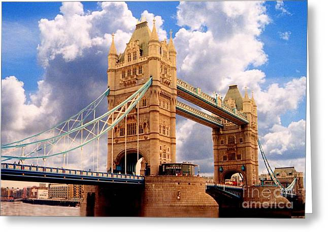 Gothic Bridge Photographs Digital Greeting Cards - Tower Bridge London Greeting Card by Peter Sandilands