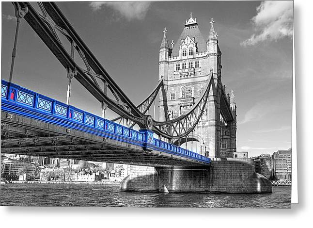 Famous Bridge Greeting Cards - Tower Bridge London Selective Color Greeting Card by Gill Billington