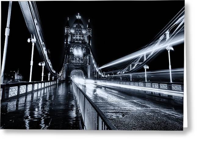 Tower Of Light Greeting Cards - Tower Bridge London Toned Greeting Card by Ian Hufton