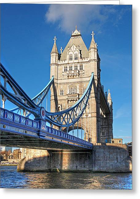 Famous Bridge Greeting Cards - Tower Bridge London Vertical Greeting Card by Gill Billington