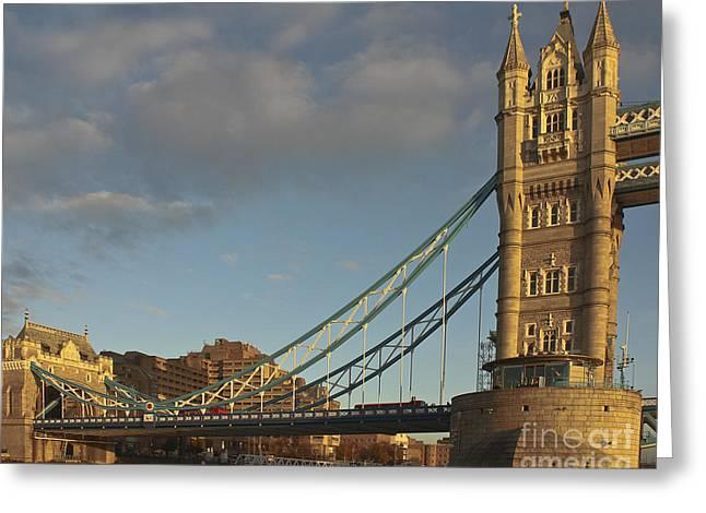 Famous Bridge Greeting Cards - Tower Bridge North Bank Greeting Card by Terri  Waters