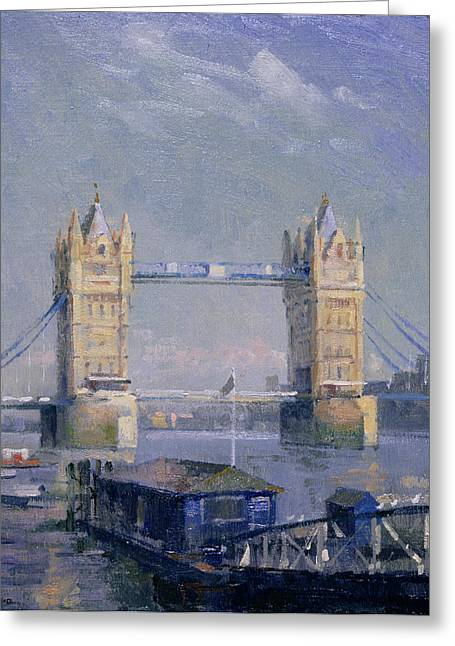 River View Photographs Greeting Cards - Tower Bridge Oil On Board Greeting Card by Bob Brown