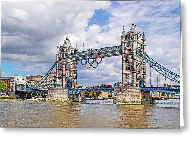 Tower Bridge Olympics Greeting Card by Peter Allen