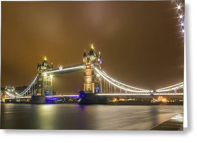 Dolphin Greeting Cards - Tower Bridge panorama London Greeting Card by Ian Hufton