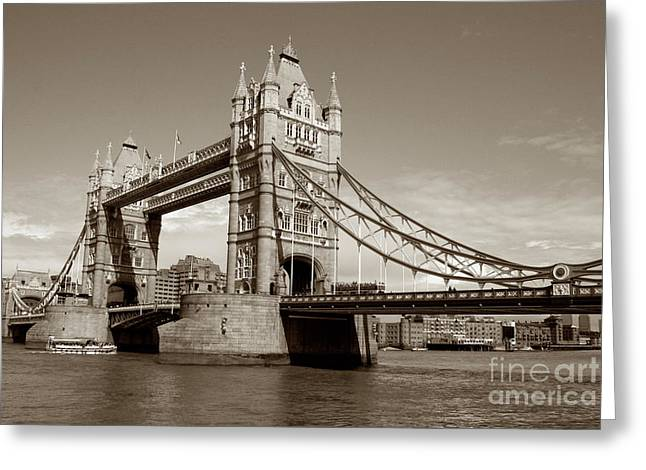 Kate Middleton Greeting Cards - Tower Bridge - Sepia Greeting Card by Heidi Hermes