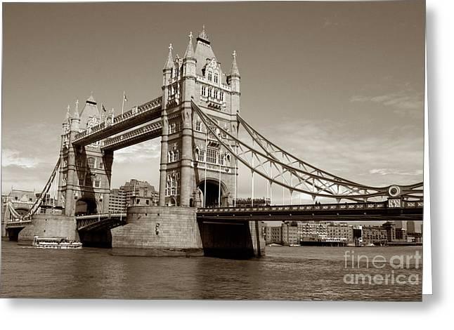 Tower Bridge - Sepia Greeting Card by Heidi Hermes