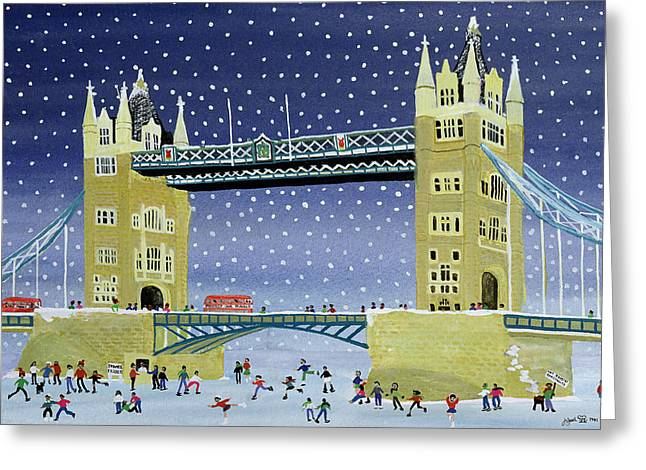 Thin Paintings Greeting Cards - Tower Bridge Skating on Thin Ice Greeting Card by Judy Joel