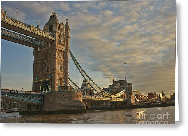 Famous Bridge Greeting Cards - Tower Bridge South Bank Greeting Card by Terri  Waters