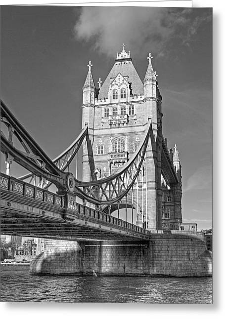 Famous Bridge Greeting Cards - Tower Bridge Vertical Black and White Greeting Card by Gill Billington