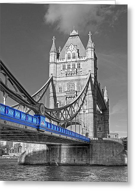 Famous Bridge Greeting Cards - Tower Bridge Vertical Selective Color Greeting Card by Gill Billington