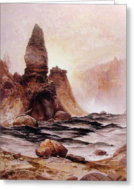 Great Falls Of Yellowstone Greeting Cards - Tower Falls At Yellowstone Greeting Card by Thomas Moran