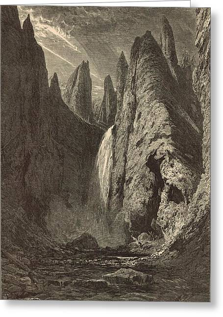 The Grand Canyon Drawings Greeting Cards - Tower Falls at Yellowstone Valley Greeting Card by Antique Engravings