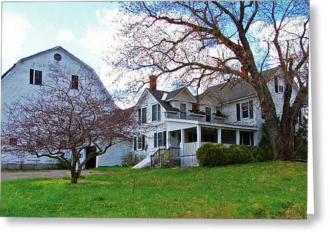 Maine Farmhouse Greeting Cards - Tower Farm Washburn Maine Greeting Card by William Tasker