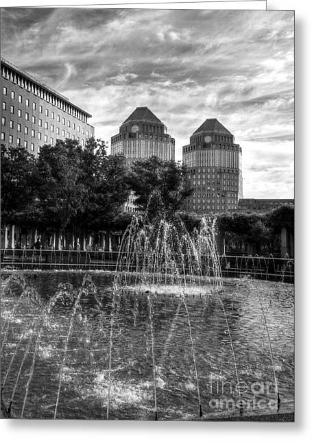 P-g Greeting Cards - Tower Fountains BW Greeting Card by Mel Steinhauer