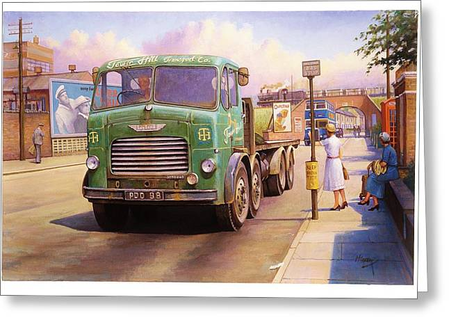 Streetscenes Paintings Greeting Cards - Tower Hill Transport. Greeting Card by Mike  Jeffries