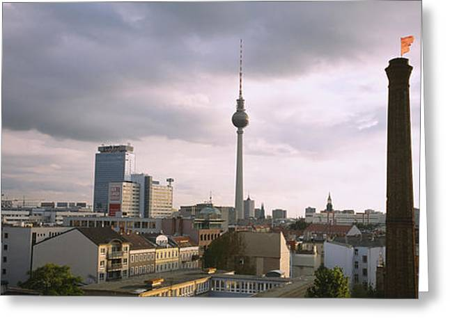 Communications Tower Greeting Cards - Tower In A City, Berlin, Germany Greeting Card by Panoramic Images