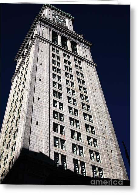 Custom House Tower Greeting Cards - Tower in Boston Greeting Card by John Rizzuto