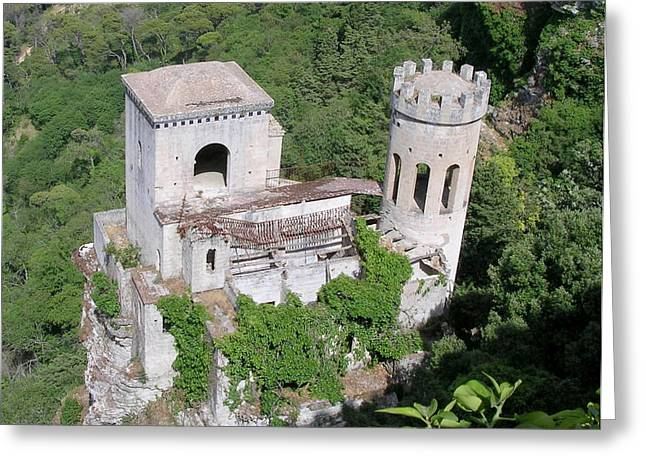 Erice Greeting Cards - Tower in Erice Sicily Greeting Card by Caroline Stella