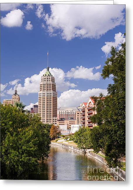 Bald Cypress Greeting Cards - Tower Life Building San Antonio Skyline and Riverwalk - Texas Greeting Card by Silvio Ligutti