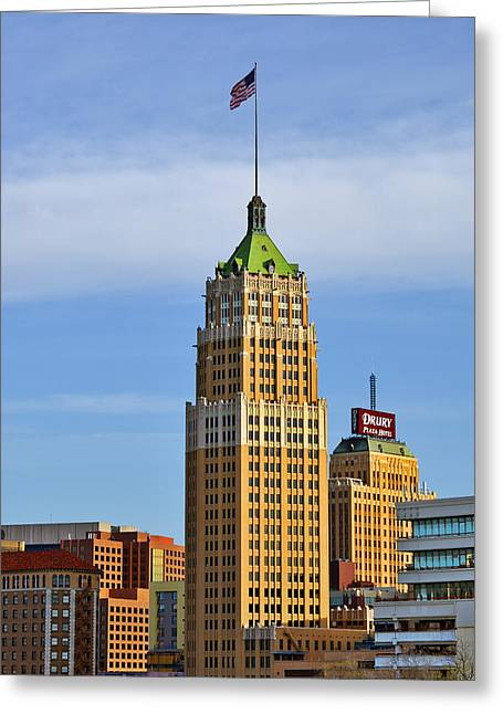 Young Greeting Cards - Tower Life Building San Antonio TX Greeting Card by Christine Till