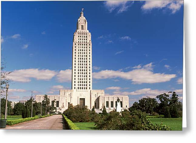 Baton Rouge Greeting Cards - Tower Of A Government Building Greeting Card by Panoramic Images