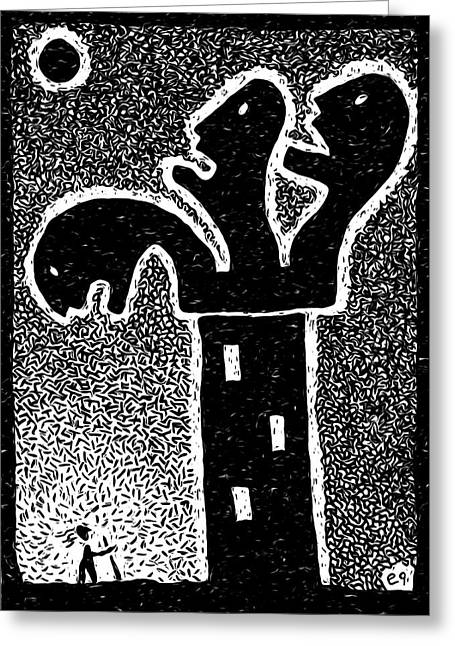 Linocut Paintings Greeting Cards - Tower of Babblers Greeting Card by e9Art