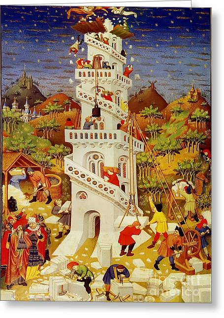 Christian Mythology Greeting Cards - Tower Of Babel, 15th Century Greeting Card by Photo Researchers