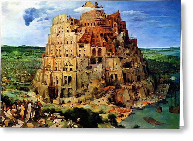 Catholic Art Greeting Cards - Tower of Babel Greeting Card by Victor Gladkiy