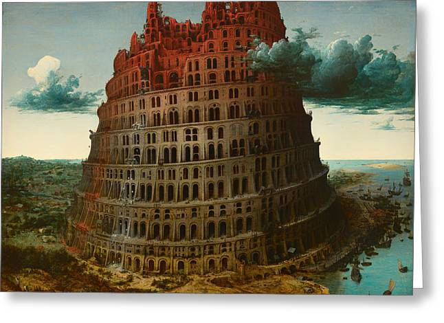 Religious Artwork Paintings Greeting Cards - Tower of Bable Greeting Card by Pieter Brueghel the Elder