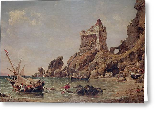 Ashore Greeting Cards - Tower Of Erchia, Gulf Of Salerno, 1849 Oil On Canvas Greeting Card by Edward William Cooke