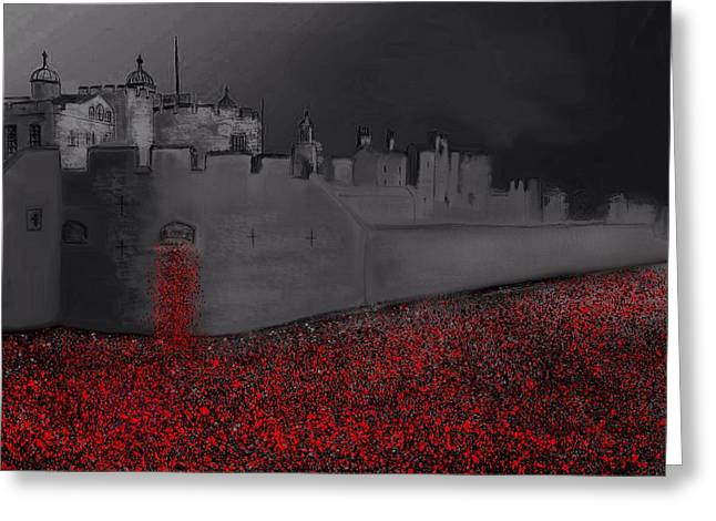 Wwi Greeting Cards - Tower of London Blood Swept The Lands Greeting Card by Karen Harding