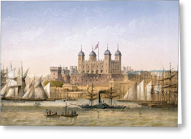 River Thames Greeting Cards - Tower Of London, C.1862 Greeting Card by Achille-Louis Martinet