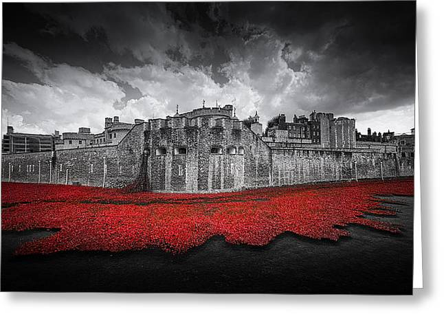 Moat Greeting Cards - Tower of London Remembers Greeting Card by Ian Hufton