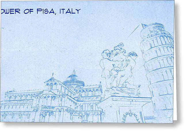 Bravery Greeting Cards - Tower of Pisa Italy  - BluePrint Drawing Greeting Card by MotionAge Designs