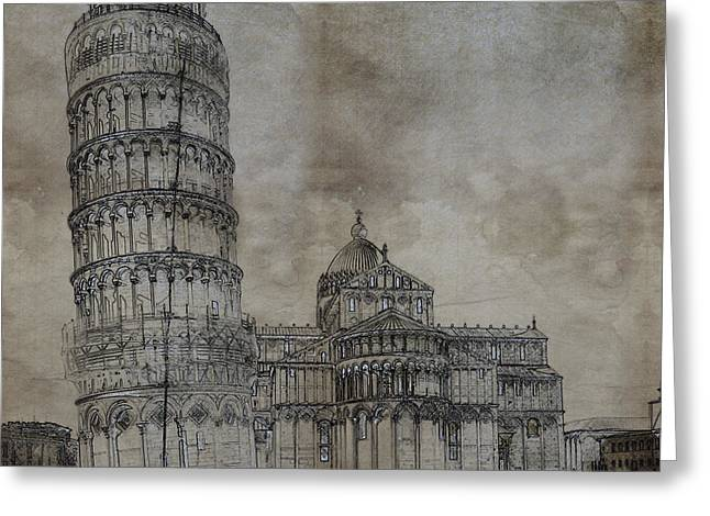 Art Of Building Greeting Cards - Tower of Pisa Italy Sketch Greeting Card by Celestial Images