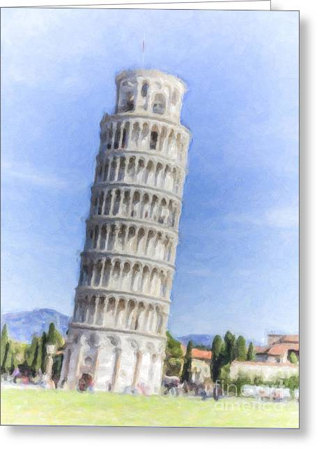 Tower Of Pisa Greeting Card by Liz Leyden