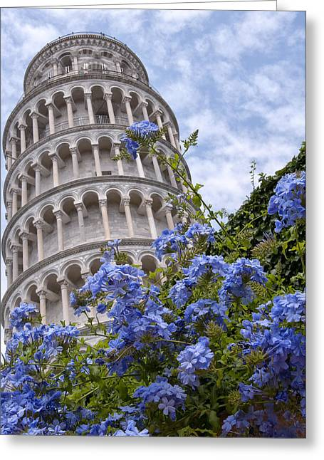 Tower Of Pisa With Blue Flowers Greeting Card by Melany Sarafis